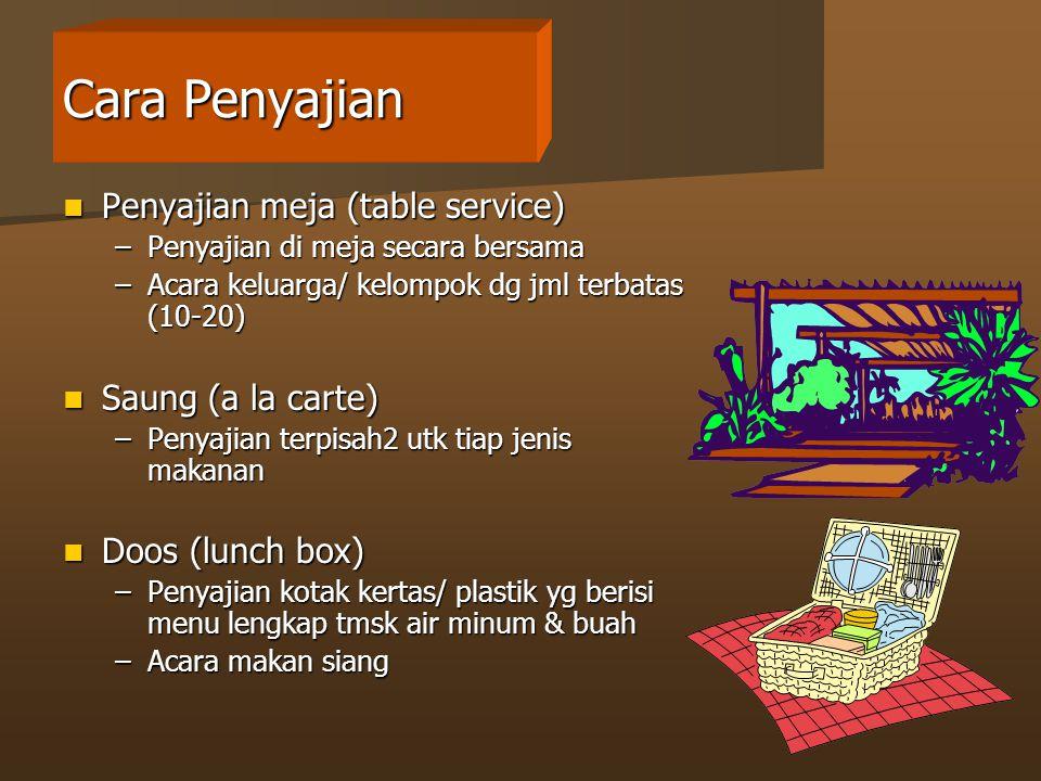 Cara Penyajian Penyajian meja (table service) Saung (a la carte)