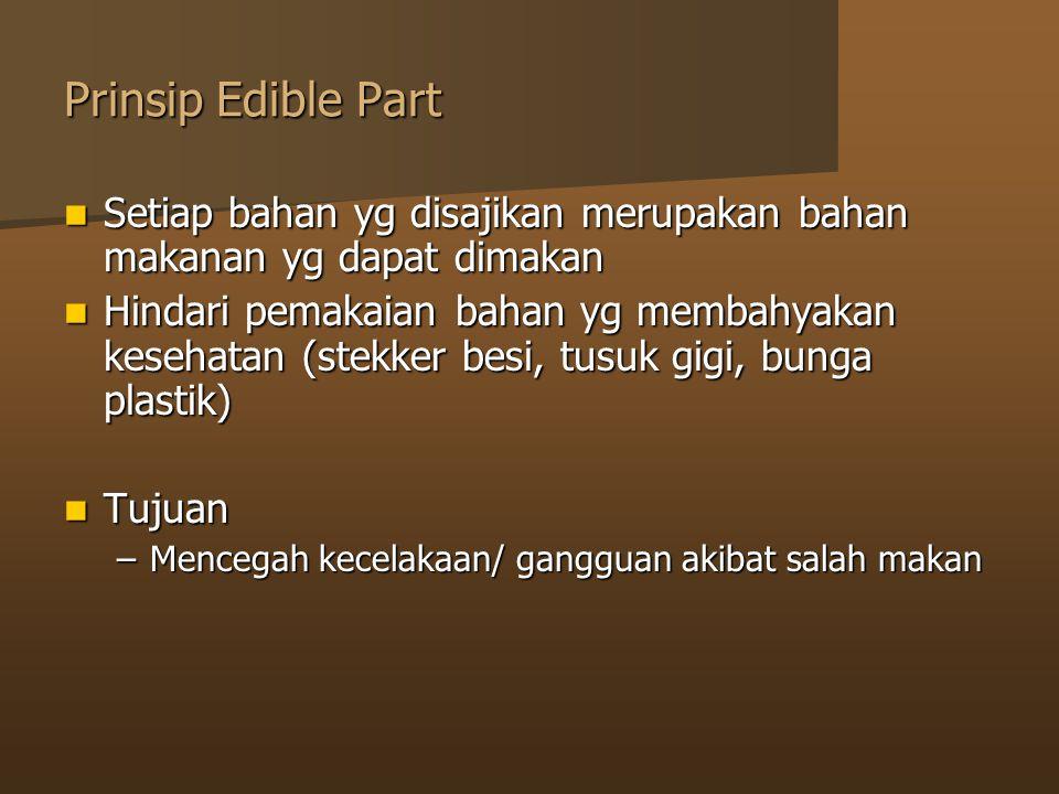 Prinsip Edible Part Setiap bahan yg disajikan merupakan bahan makanan yg dapat dimakan.