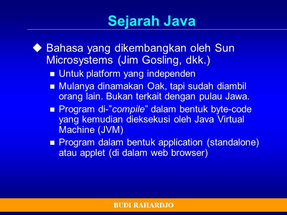 Sejarah Java Bahasa yang dikembangkan oleh Sun Microsystems (Jim Gosling, dkk.) Untuk platform yang independen.
