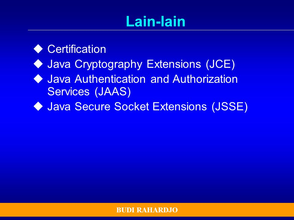 Lain-lain Certification Java Cryptography Extensions (JCE)