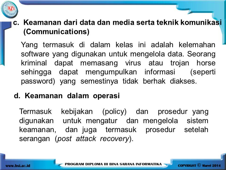 c. Keamanan dari data dan media serta teknik komunikasi
