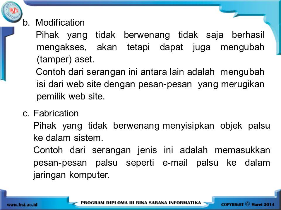 b. Modification Pihak yang tidak berwenang tidak saja berhasil mengakses, akan tetapi dapat juga mengubah (tamper) aset.