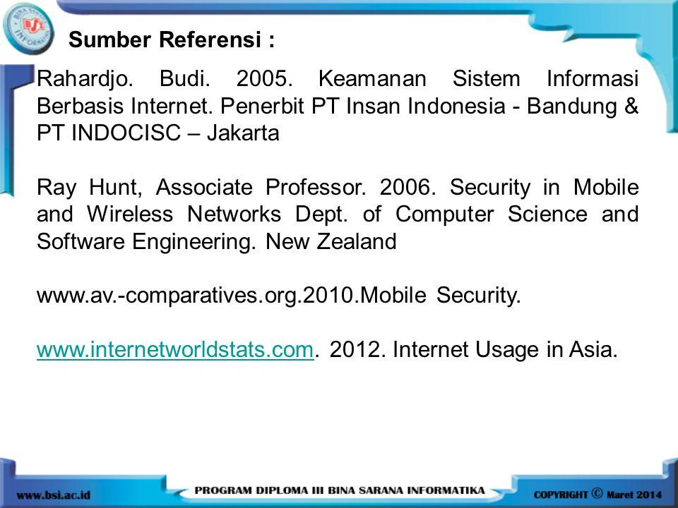 Sumber Referensi : Rahardjo. Budi. 2005. Keamanan Sistem Informasi Berbasis Internet. Penerbit PT Insan Indonesia - Bandung & PT INDOCISC – Jakarta.