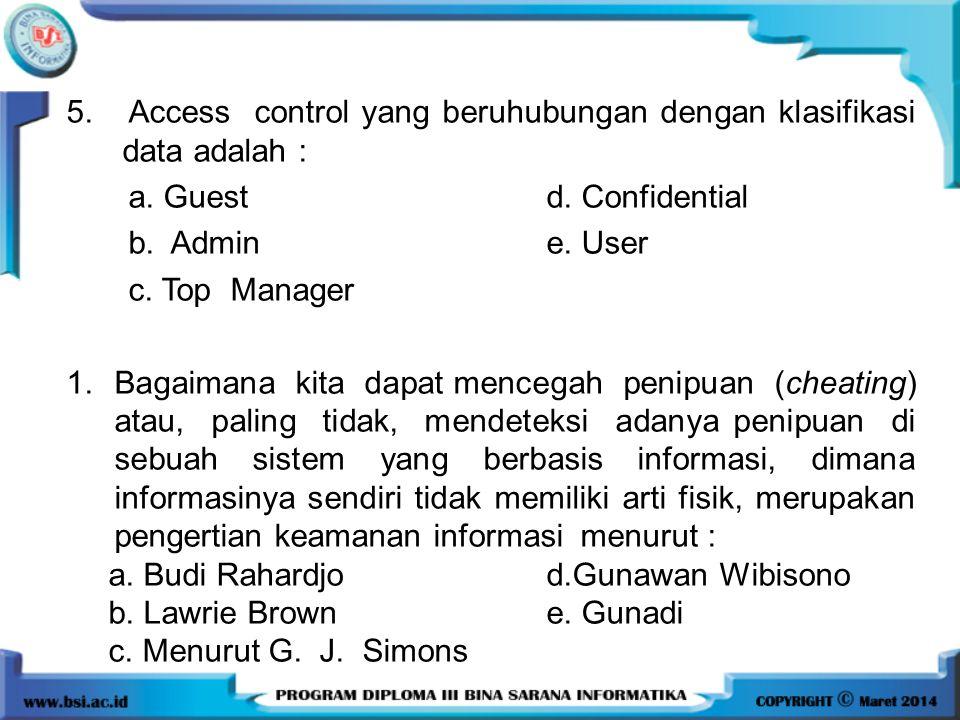 5. Access control yang beruhubungan dengan klasifikasi data adalah :