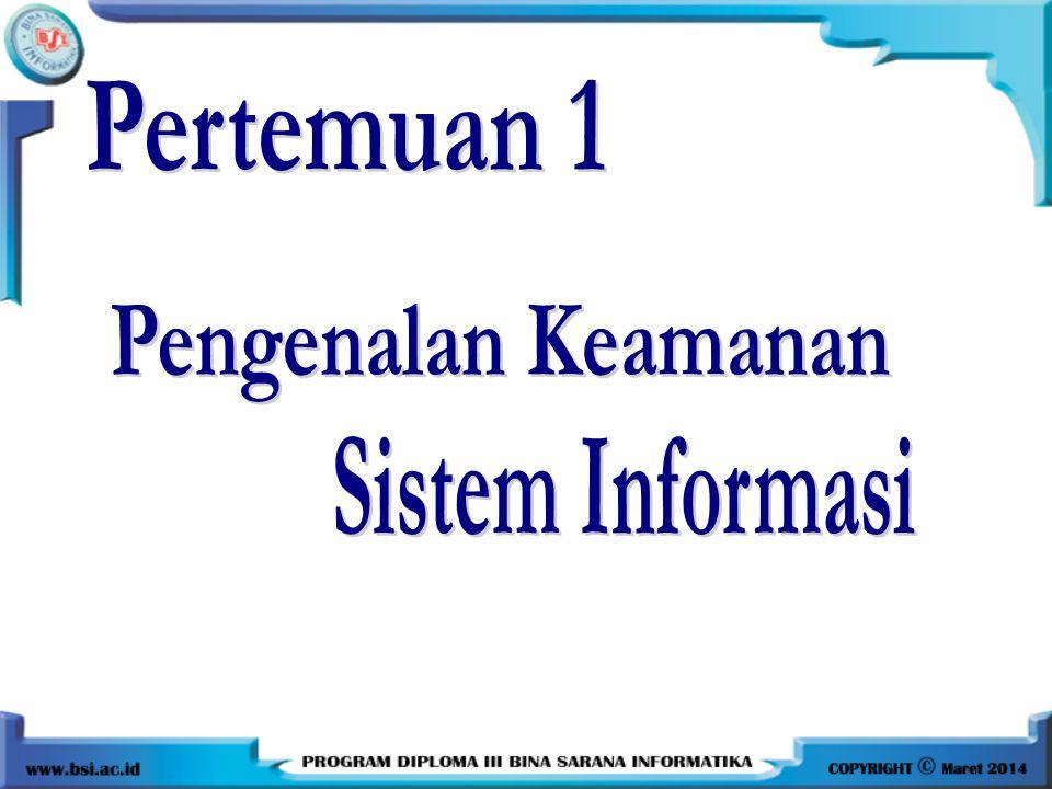 Pertemuan 1 Pengenalan Keamanan Sistem Informasi