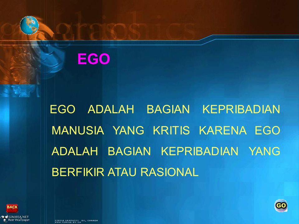 EGO EGO ADALAH BAGIAN KEPRIBADIAN MANUSIA YANG KRITIS KARENA EGO ADALAH BAGIAN KEPRIBADIAN YANG BERFIKIR ATAU RASIONAL.