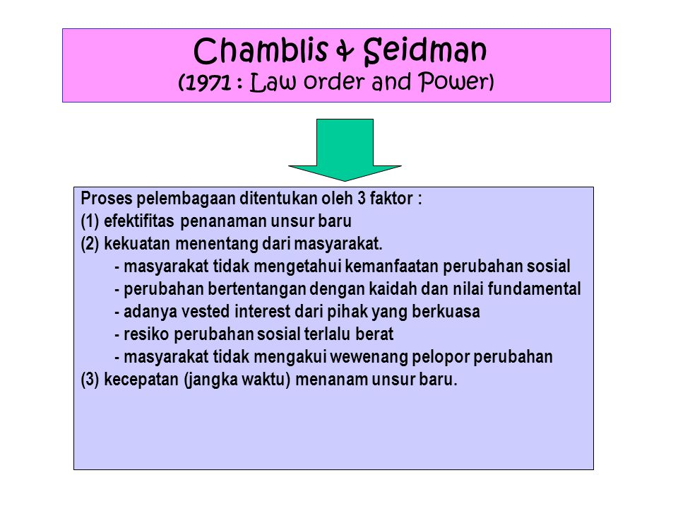 Chamblis & Seidman (1971 : Law order and Power)