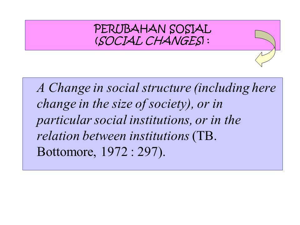 PERUBAHAN SOSIAL (SOCIAL CHANGES) :