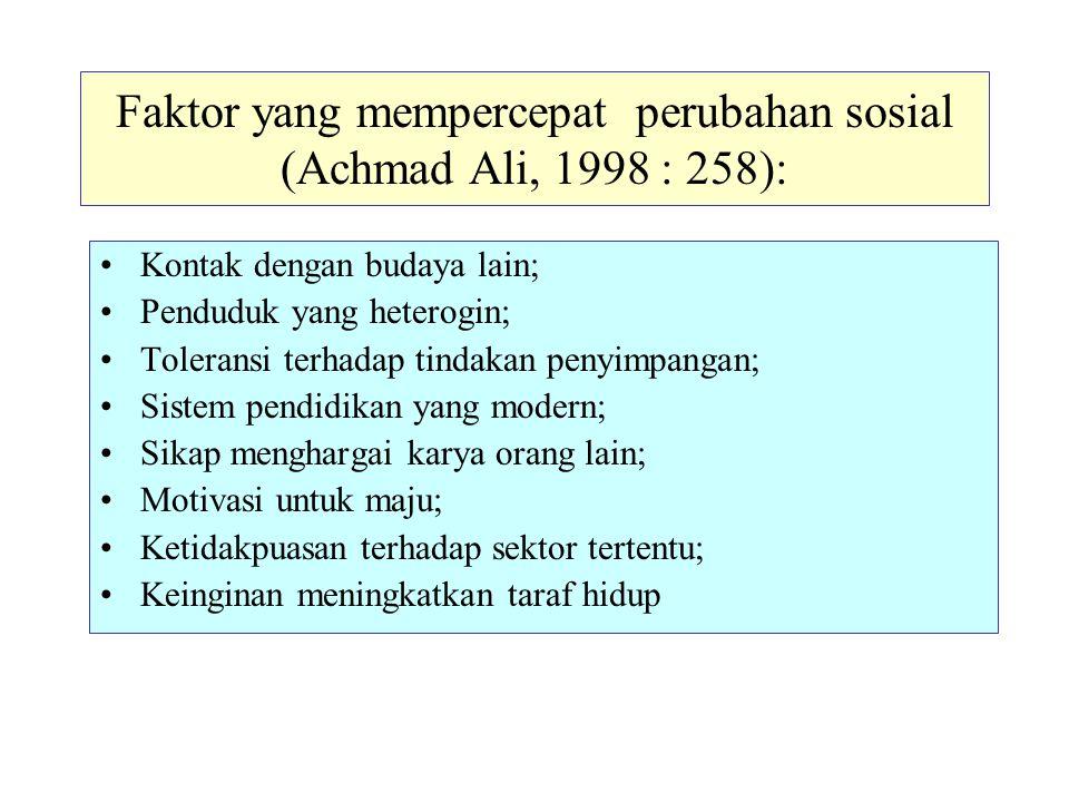 Faktor yang mempercepat perubahan sosial (Achmad Ali, 1998 : 258):
