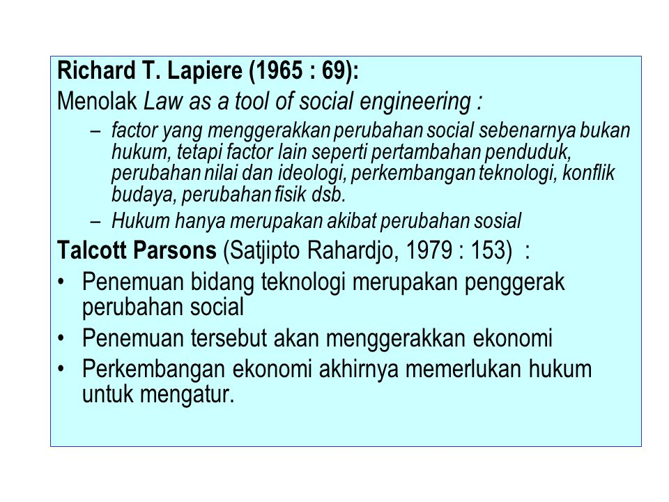 Menolak Law as a tool of social engineering :