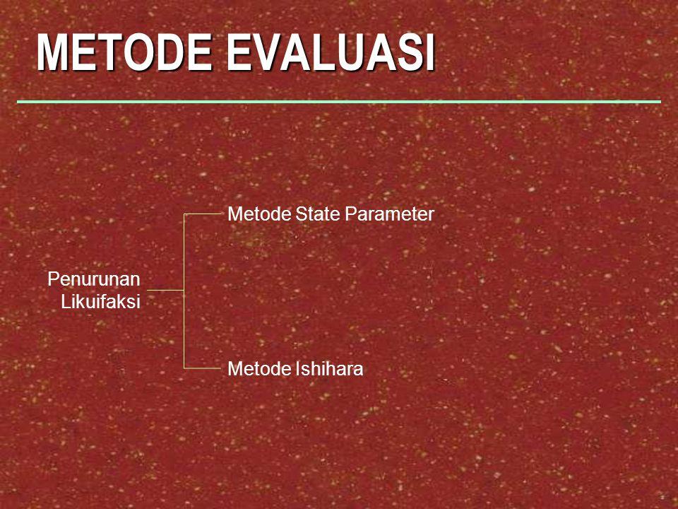 METODE EVALUASI Metode State Parameter Penurunan Likuifaksi
