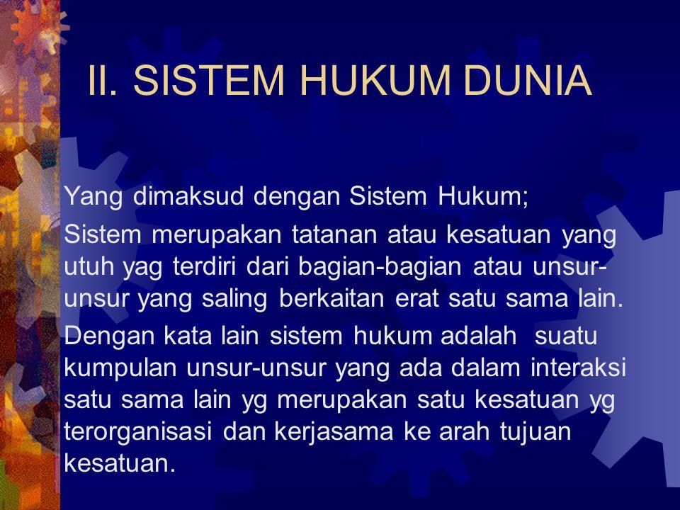 II. SISTEM HUKUM DUNIA Yang dimaksud dengan Sistem Hukum;