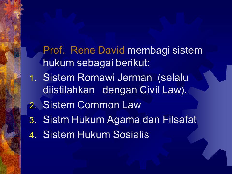 Prof. Rene David membagi sistem hukum sebagai berikut: