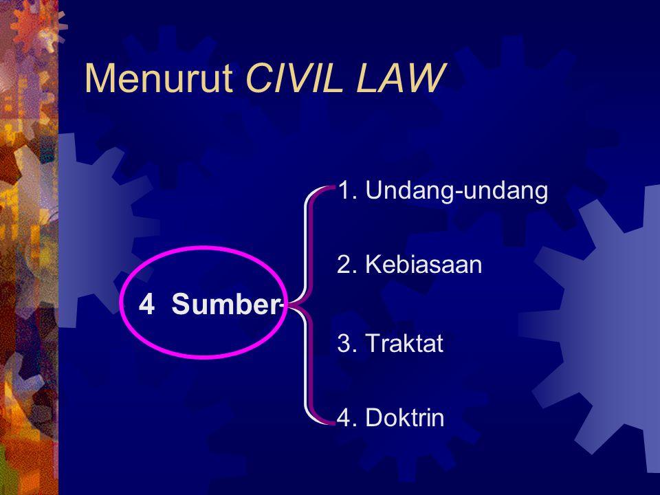 Menurut CIVIL LAW 4 Sumber 1. Undang-undang 2. Kebiasaan 3. Traktat