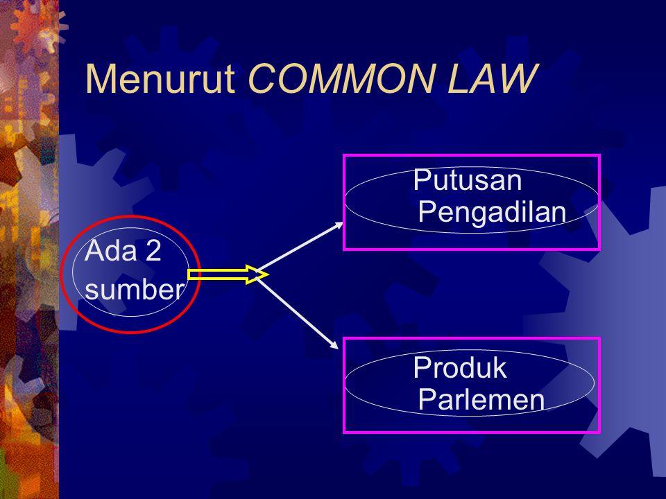 Menurut COMMON LAW Putusan Pengadilan Ada 2 sumber Produk Parlemen