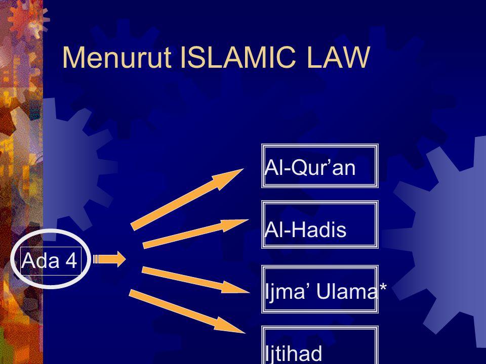 Menurut ISLAMIC LAW Al-Qur'an Al-Hadis Ada 4 Ijma' Ulama* Ijtihad