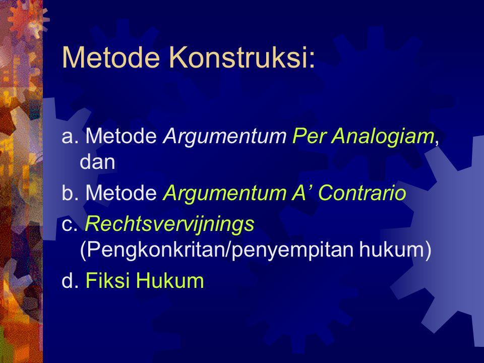 Metode Konstruksi: a. Metode Argumentum Per Analogiam, dan