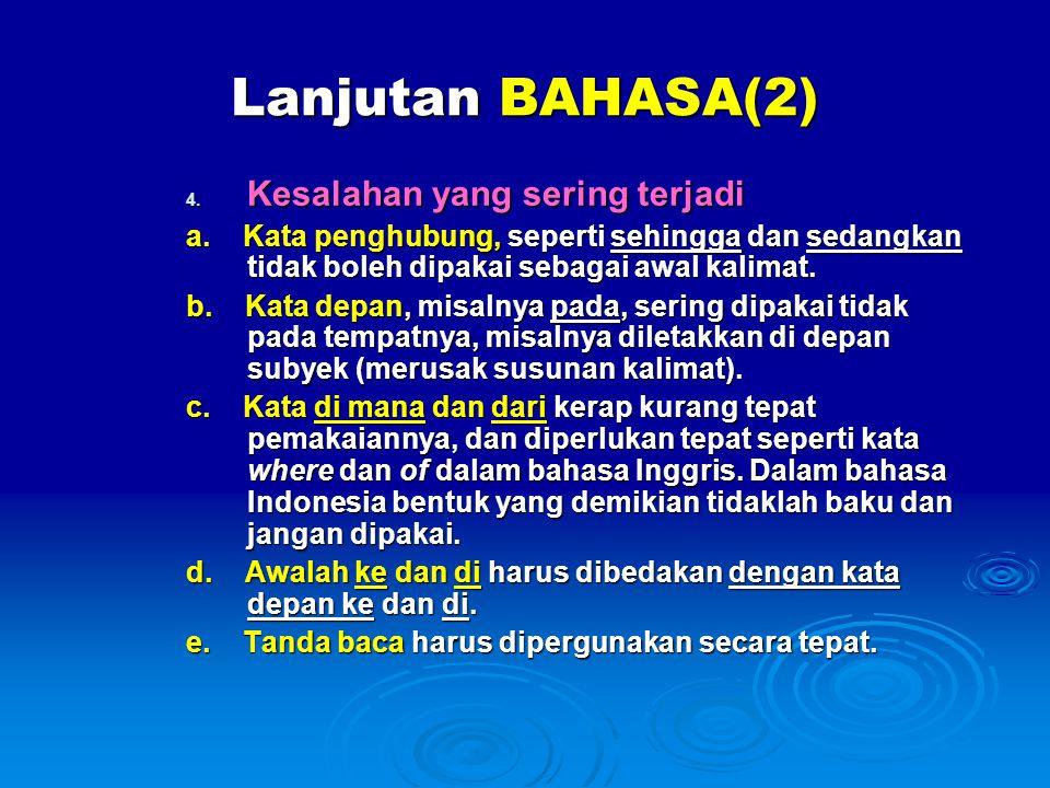 Lanjutan BAHASA(2) Kesalahan yang sering terjadi