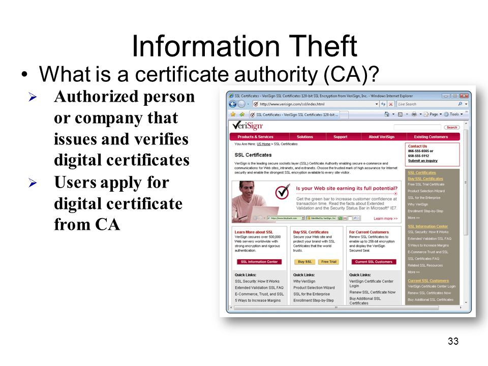 Information Theft What is a certificate authority (CA)