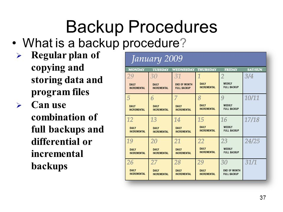 Backup Procedures What is a backup procedure
