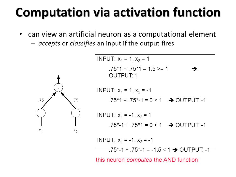 Computation via activation function