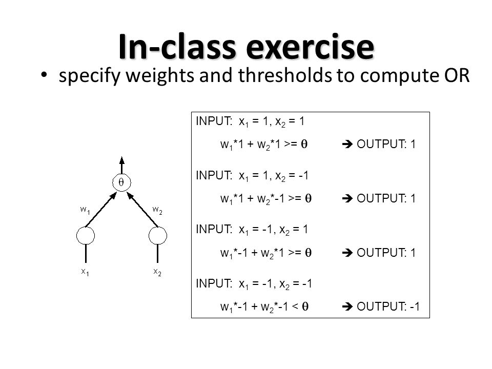 In-class exercise specify weights and thresholds to compute OR
