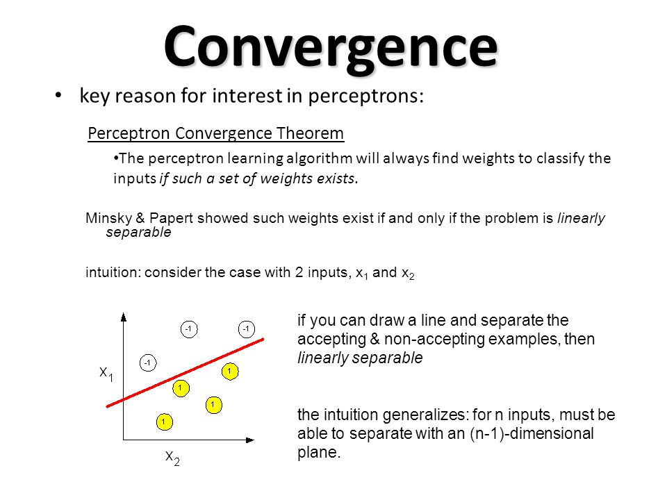 Convergence key reason for interest in perceptrons: