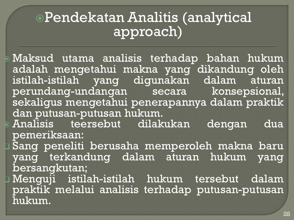 Pendekatan Analitis (analytical approach)