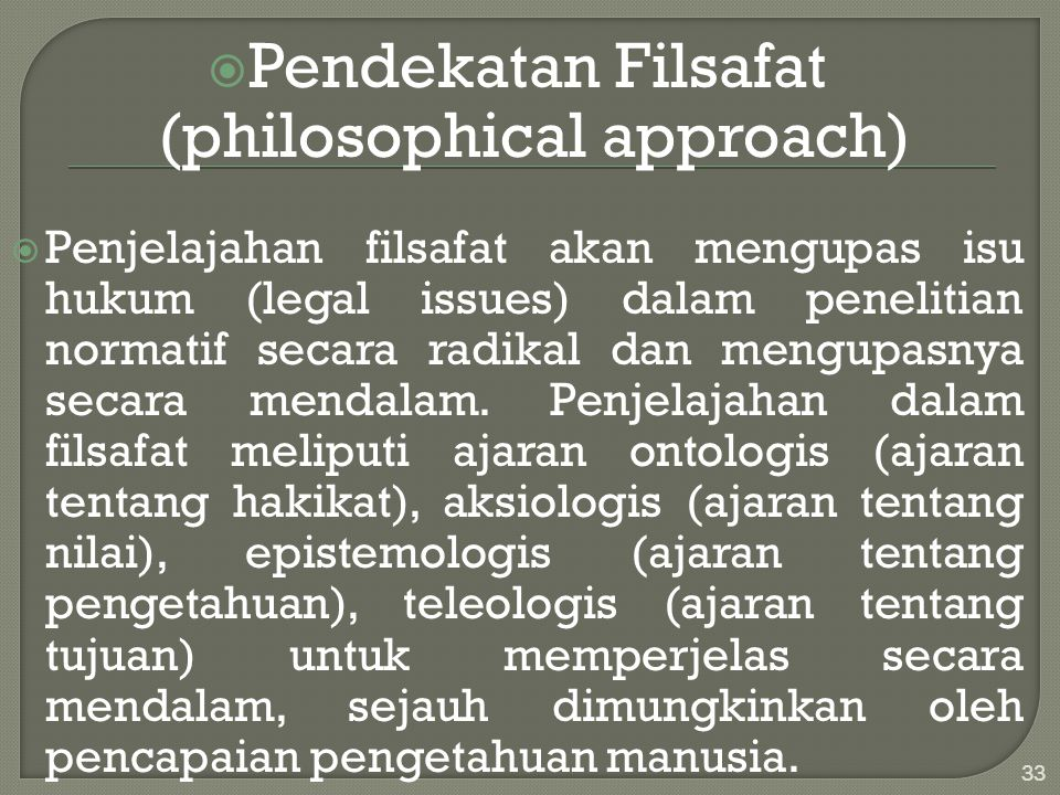 Pendekatan Filsafat (philosophical approach)