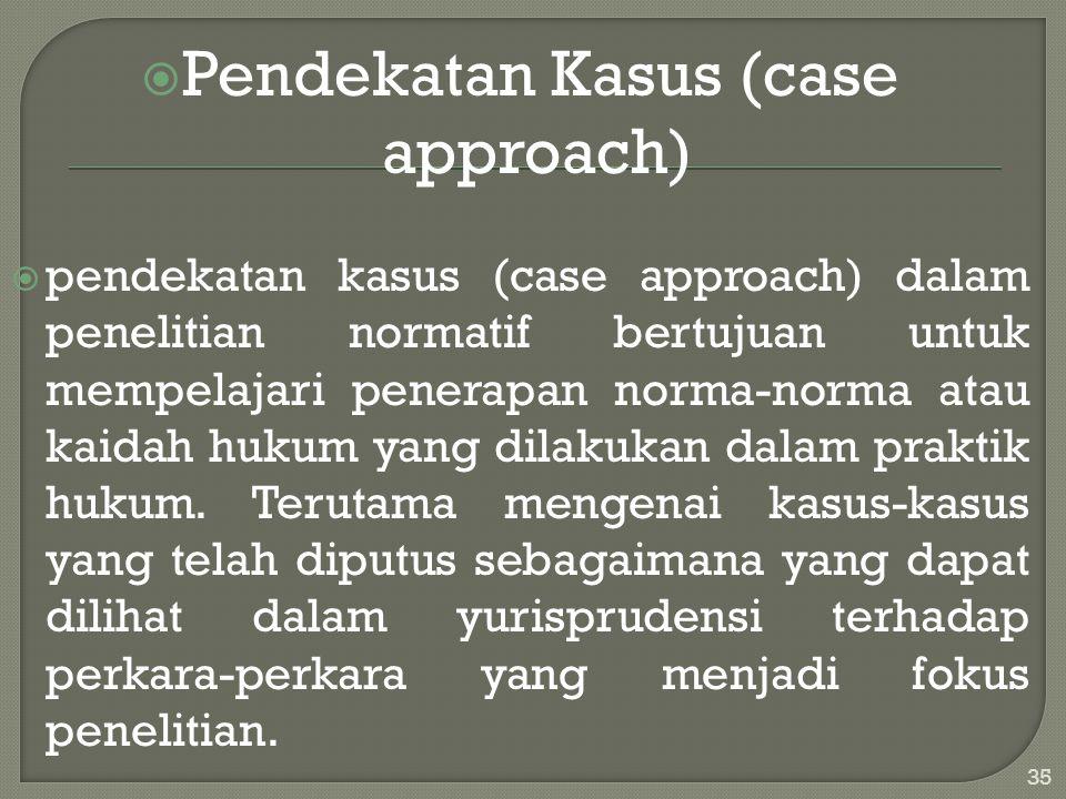 Pendekatan Kasus (case approach)