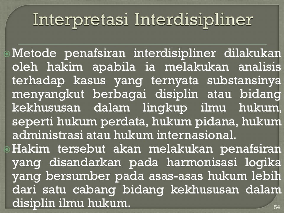 Interpretasi Interdisipliner