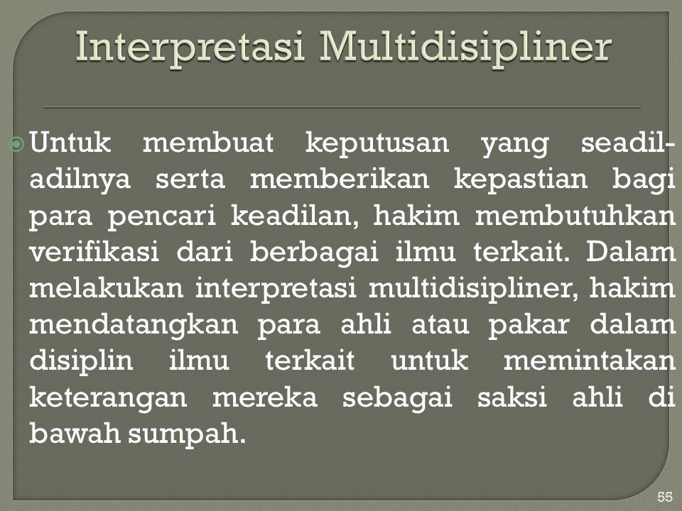 Interpretasi Multidisipliner