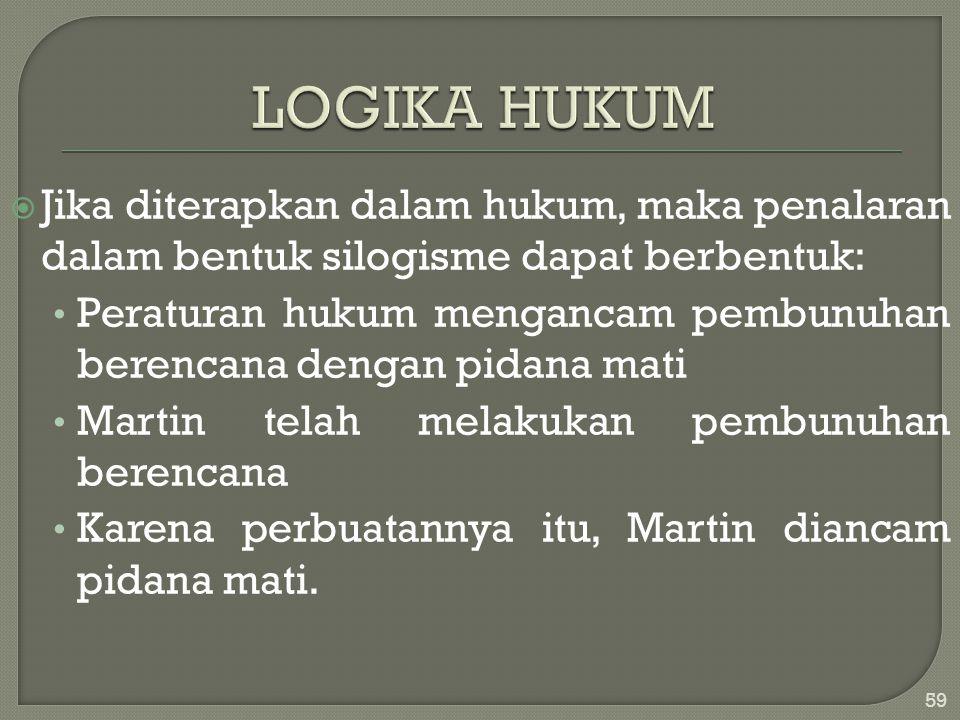 LOGIKA HUKUM Jika diterapkan dalam hukum, maka penalaran dalam bentuk silogisme dapat berbentuk: