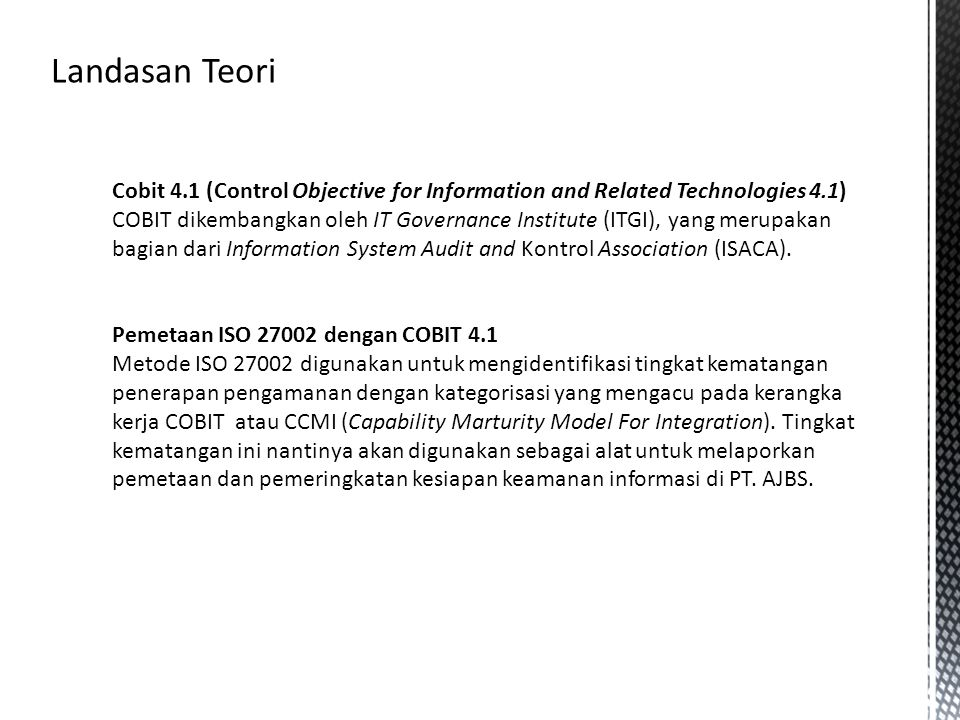 Landasan Teori Cobit 4.1 (Control Objective for Information and Related Technologies 4.1)