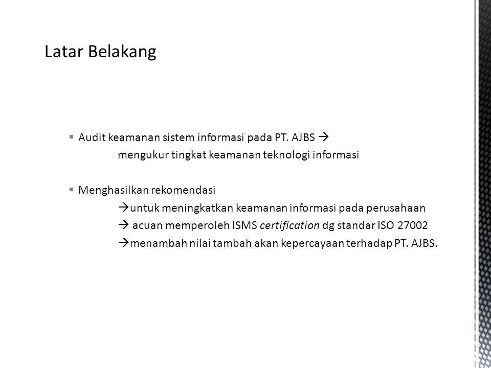 Latar Belakang Audit keamanan sistem informasi pada PT. AJBS 