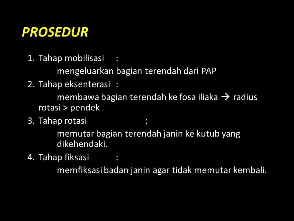 PROSEDUR 1. Tahap mobilisasi : mengeluarkan bagian terendah dari PAP