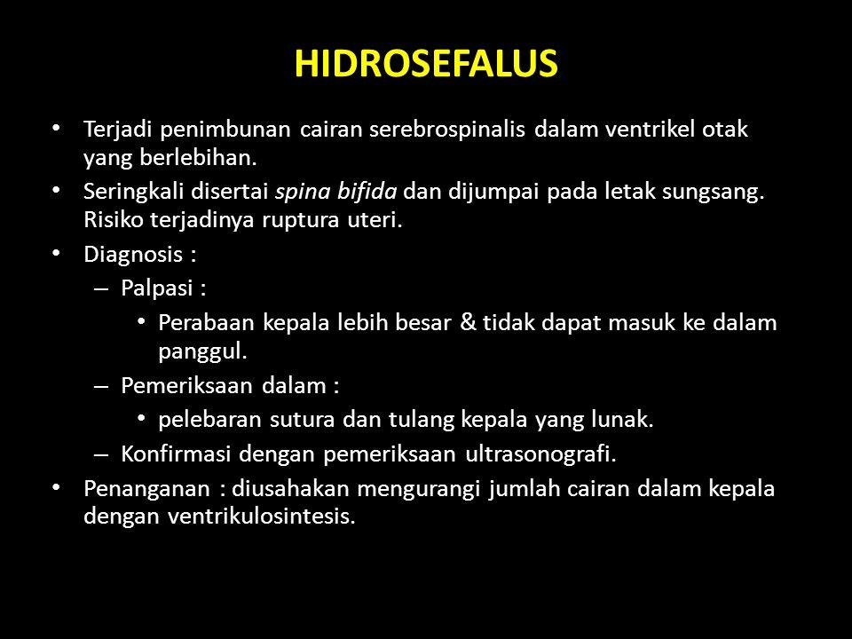 HIDROSEFALUS Terjadi penimbunan cairan serebrospinalis dalam ventrikel otak yang berlebihan.