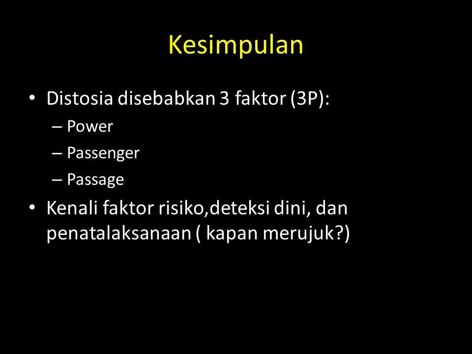 Kesimpulan Distosia disebabkan 3 faktor (3P):