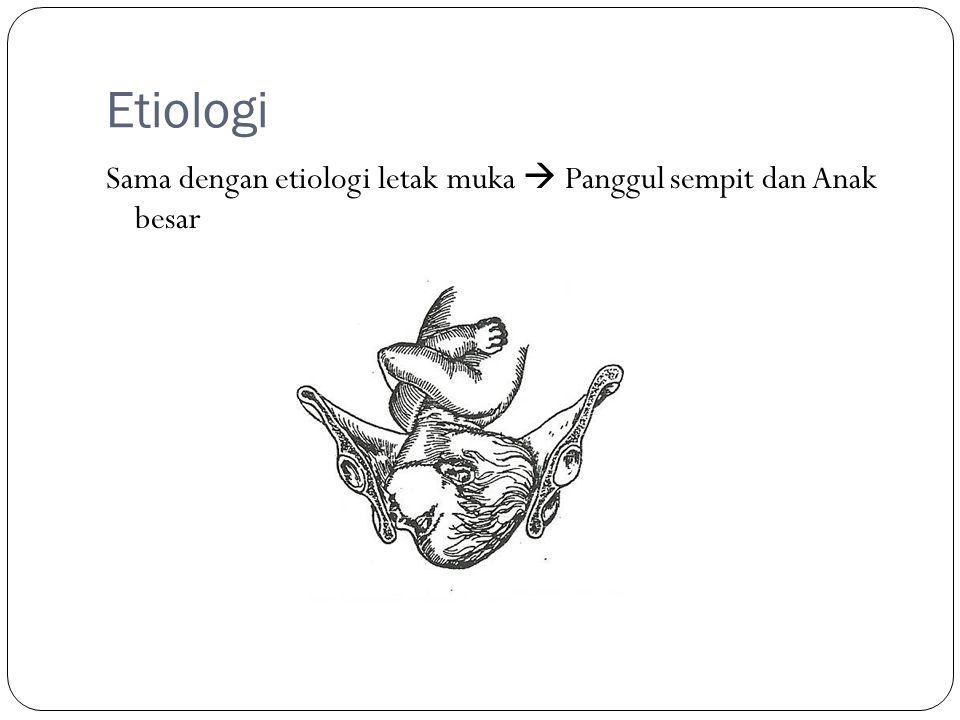 Etiologi Sama dengan etiologi letak muka  Panggul sempit dan Anak besar