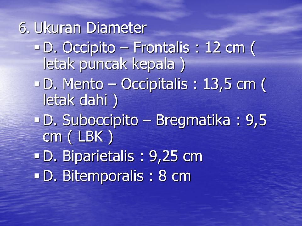 6. Ukuran Diameter D. Occipito – Frontalis : 12 cm ( letak puncak kepala ) D. Mento – Occipitalis : 13,5 cm ( letak dahi )