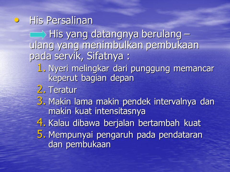 His Persalinan His yang datangnya berulang – ulang yang menimbulkan pembukaan pada servik, Sifatnya :