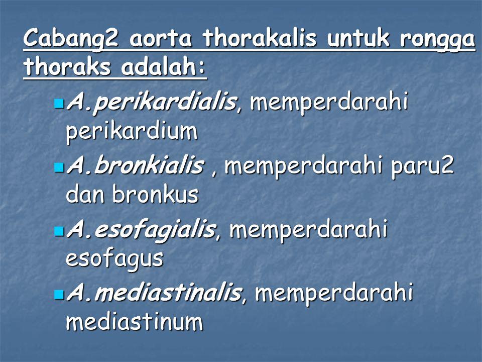 Cabang2 aorta thorakalis untuk rongga thoraks adalah: