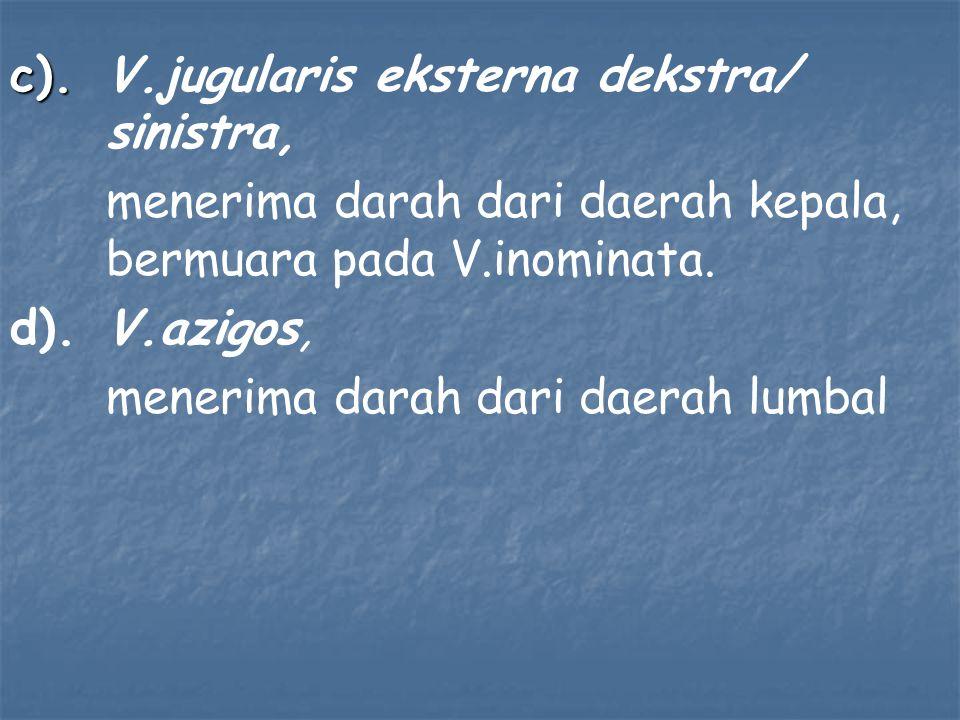 c). V.jugularis eksterna dekstra/ sinistra,