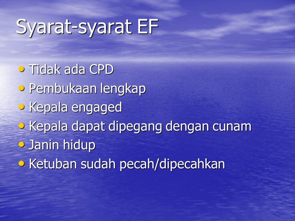 Syarat-syarat EF Tidak ada CPD Pembukaan lengkap Kepala engaged