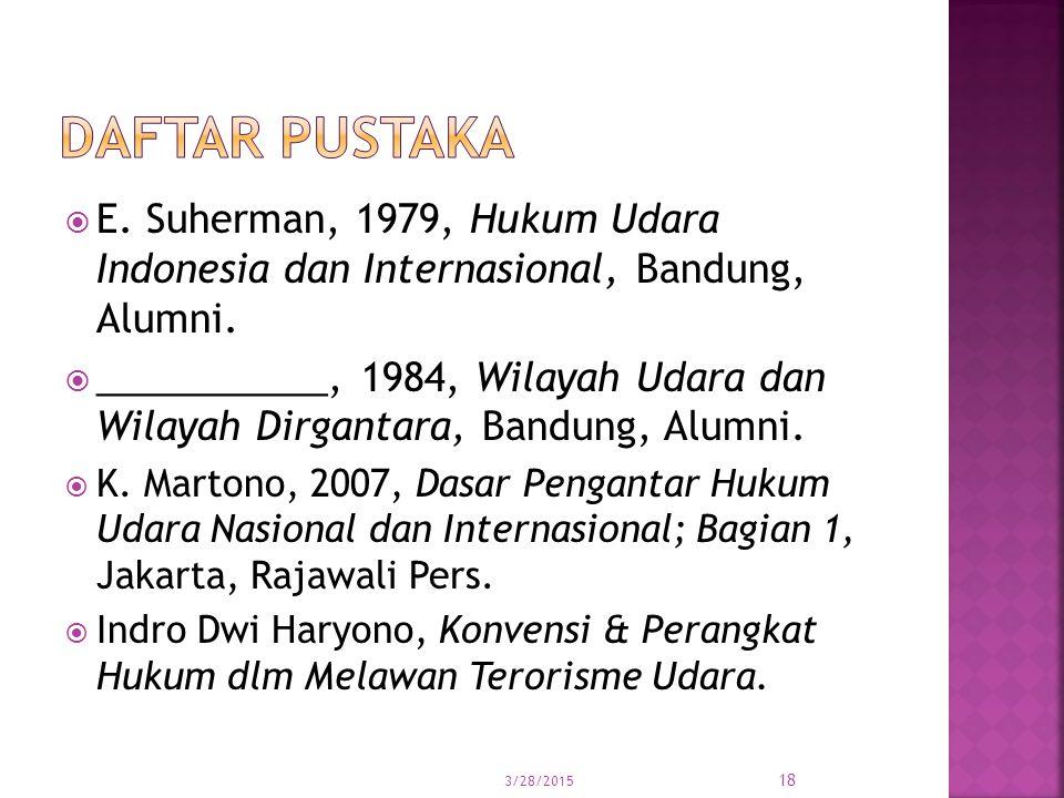 DAFTAR PUSTAKA E. Suherman, 1979, Hukum Udara Indonesia dan Internasional, Bandung, Alumni.