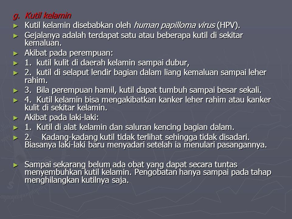 g. Kutil kelamin Kutil kelamin disebabkan oleh human papilloma virus (HPV).