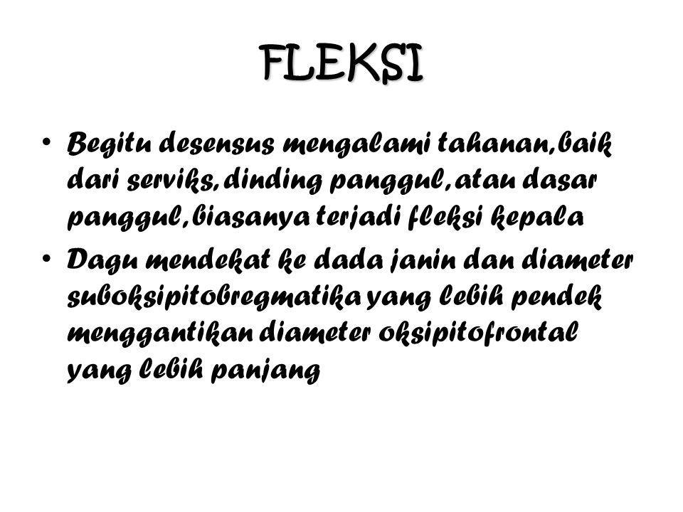 FLEKSI Begitu desensus mengalami tahanan, baik dari serviks, dinding panggul, atau dasar panggul, biasanya terjadi fleksi kepala.