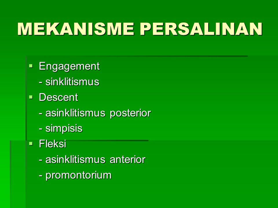 MEKANISME PERSALINAN Engagement - sinklitismus Descent