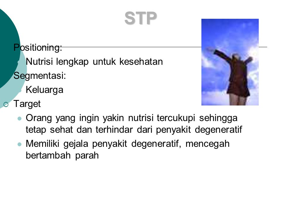 STP Positioning: Nutrisi lengkap untuk kesehatan Segmentasi: Keluarga
