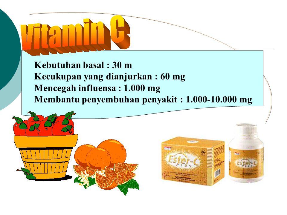 Kebutuhan basal : 30 m Kecukupan yang dianjurkan : 60 mg.